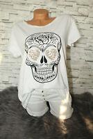 Italy New Collection T-Shirt weiß Totenkopf Skull Gr. 36 38 40 42 blogger Strass