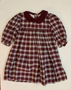 Strasburg Girls Heirloom Dress size 18M 18 Months Garnet Cream Plaid Baby