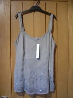 M & S Per Una Grey Beaded Top Size 12 NEW (tags) RRP £25 (Ref P) Ex Condition