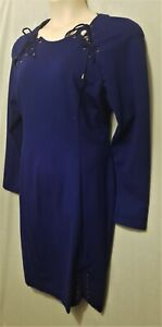 BNWT Size 18 LOVERS long sleeve laced shoulder stretch dress blue formal evening