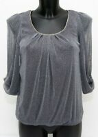 BNWT Metallic Silver Evening Top Blouse Size 8 UK Loose Sparkly Party