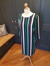 Dorothy Perkins ~ Green, Navy Blue & Cream Striped Dress ~ UK Size 18 ~ VGC