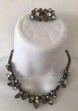Rhinestone Dangle Choker Necklace Earrings Set 1950's Weiss Silver Tone Smoke Ab