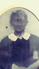 Large Tintype 1860s of old lady that looks like a Zombie Original