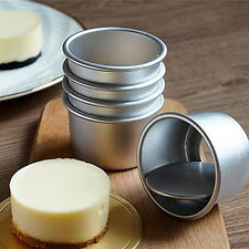 IK- Popular 5Pcs Round Mini Cake Pan Removable Bottom Pudding Mold DIY Baking To