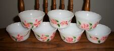 Lot of 7 Fire King vintage Peach Blossom custard cups BEAUTIFUL