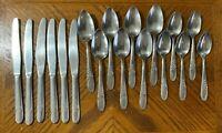 Vintage EC Ltd Stainless SYMPHONY Knives Soup Spoons Teaspoons Lot of 18