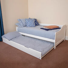 Wido WHITE WOODEN 3FT SINGLE BED WITH PULL OUT UNDERBED MATTRESS UNDER TRUNDLE