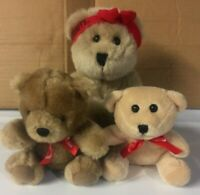 "LOT of 3 PLUSH BEARS: RUSSELL STOVER & HERSHEY'S: 4"", 6"" & 7"": VERY GOOD!"