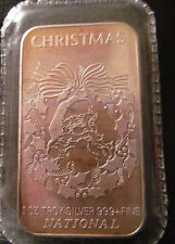 1 Troy Ounce .999 Silver Bar, Christmas  National USA Vintage Toned Sealed Mint