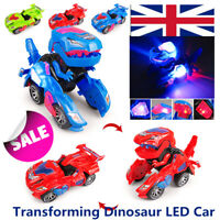Transforming Dinosaur LED Car - T-Rex Toys Light Sound Electric Toy 3 Color UK