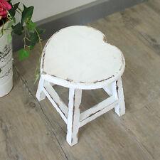 Bianco verniciato in legno cuore sgabello shabby chic francese paese CUCINA CASA
