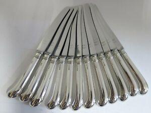 "12 Sterling Silver Pistol Handle Dinner Knives. 9.6"" Long. English. 1968"