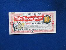 VINTAGE RICE KRISPIES 10Ȼ COUPON 1952 9-MINUTE MARSHMALLOW CRISPY SQUARES RECIPE