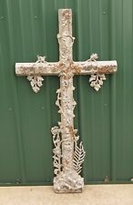Antique French Cast Iron Large Ornate Architectural Salvage Cross