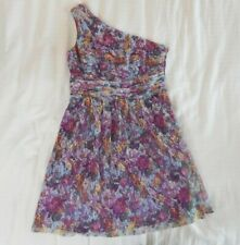 womens multi color GIANNI BINI dress one shoulder floral party lace large 12