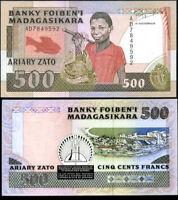 MADAGASCAR 500 FRANCS 1988 P 71 AU-UNC