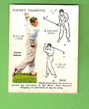 1939 GOLF  CIGARETTE CARD #1 - THE DRIVE, JAMES ADAMS