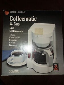 Black & Decker 4 Cup Coffee Maker Coffeematic Spacemaker Space Saver White