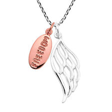 """Wing Charm Sterling Silver Necklace Pink Gold """"Freedom� Tag Angle"""