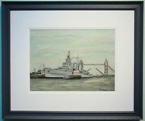 Original Art Oil Painting HMS BELFAST Navy Ship besides TOWER BRIDGE, LONDON