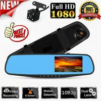"4.3"" Car DVR HD 1080P Dual Lens Rearview Mirror Dash Cam Recorder Rear Camera"