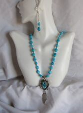 Turquoise Pendant and Sleeping Beauty Nuggets Necklace and Earring  Jewelry Set