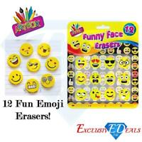 12 Funny Face Novelty Emoji Erasers - Smiley Face Rubbers - Party Bag Fillers