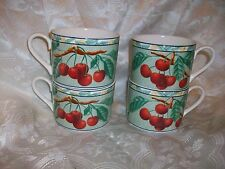 4 VICTORIA & BEALE CASUAL L'AMOUR PATTERN TEACUPS COFFEE MUGS CHERRY FRUIT