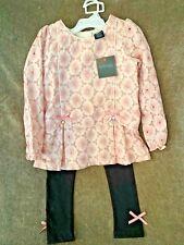 Cynthia Rowley 5T girls outfit pink long sleeved top black leggings w/ bows BNWT