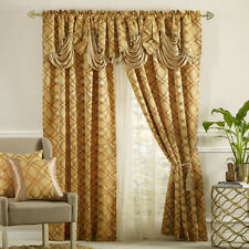 DISPLAY- DANCE WITH WIND. Jacquard curtain with valance 2pcs set.GOLD.