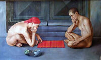 """Dream-art GAY oil painting male portrait two young men playing chess canvas 36"""""""