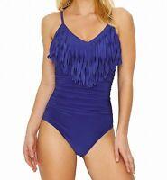 Magicsuit Womens Swimwear Blue Size 14 One Piece Underwire Fringe $170 758