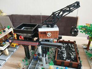 🚞 Lego MOC Eigenbau Eisenbahn Bekohlungsanlage Kran Schienen 10 Figuren Unikat