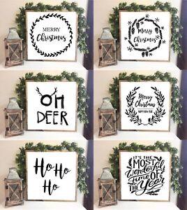 Xmas Festive Farmhouse Style Family Sign Merry Christmas Print 20x20cm