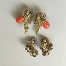 Lot Of 2 Weiss NY & Sarah Cov (Coventry) Women's Clipon Costume Earrings Vintage