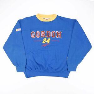Vintage NUTMEG Nascar Blue Sports Crew Neck Sweatshirt Mens L