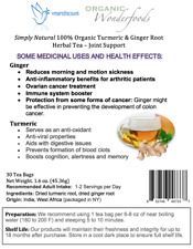Simply Natural 100% Organic Turmeric & Ginger Root Herbal Tea, 30 Tea Bags