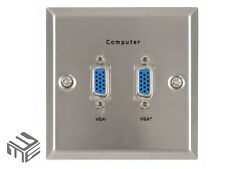 Twin VGA Video Wallplate Double Stainless Steel Wall Plate PC TV