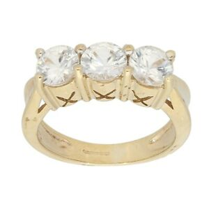 9ct Gold Ring 4.55g Trilogy Cubic Zirconia Size L - Fully Hallmarked
