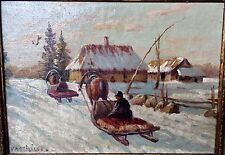 Marie Vassilieff; Early Russian Academic Winter Scene, c. 1915. Signed w Label