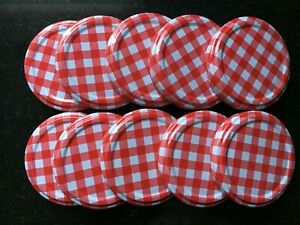 New pack of 10 jam jar lids 63mm twist on off red gingham chutney replacement