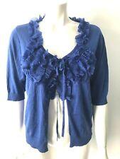 Phase Eight blue frill ruffle silk cotton cardigan plus size 18 - BNWOT