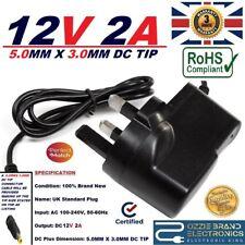 UK 12V 2A 2000mA AC/DC adaptador de fuente de alimentación puntas de 5.0MM-3.0MM 1MM 5X3X1 Pin Central