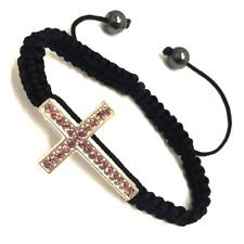 oro rosa claro lado, cruz, pulsera, cristal negro, trenzado, cuerda, cordón, dia