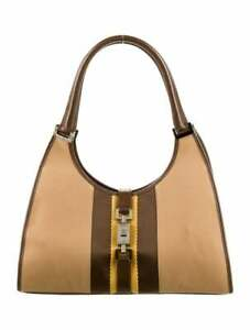 GUCCI Jackie Bardot Canvas/Leather Small Shoulder Bag in Brown and Yellow