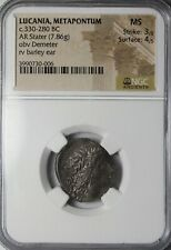 Lucania Metapontum 330-280 BC Silver Stater Demeter NGC Mint State Ancient Coin