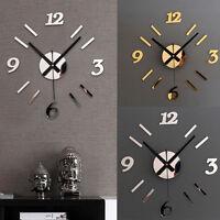 DIY Wall Clock 3D Mirror Surface Sticker Home Office Decor Clock Hoc