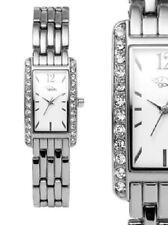 schmale Damen Armbanduhr Weiss/Silber Crystalbesatz Edelstahl gooix 119,90€ UVP