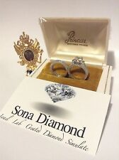 FOR A PRINCESS 1.5cts SONA DIAMOND RING, ISRAEL VVS1 DOUBLE SET 18K WHITE GOLD P